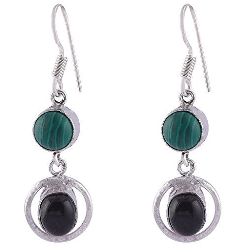 Earrings Malachite Onyx - Classic Malachite With Black Onyx Gemstone Earring Jewel Fab Art