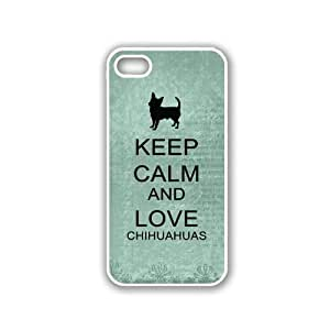 Keep Calm And Love Chihuahuas - Teal Floral - Protective Designer WHITE Case - Fits Apple iPhone 5 / 5S