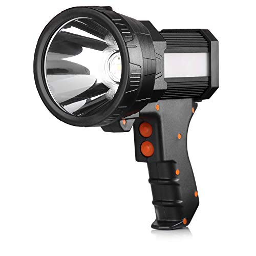 BUYSIGHT Rechargeable spotlight,Spot lights hand held large flashlight 6000 lumens handheld spotlight Super bright flashlight Outdoor spotlight flashlight Camping Flood searchlight