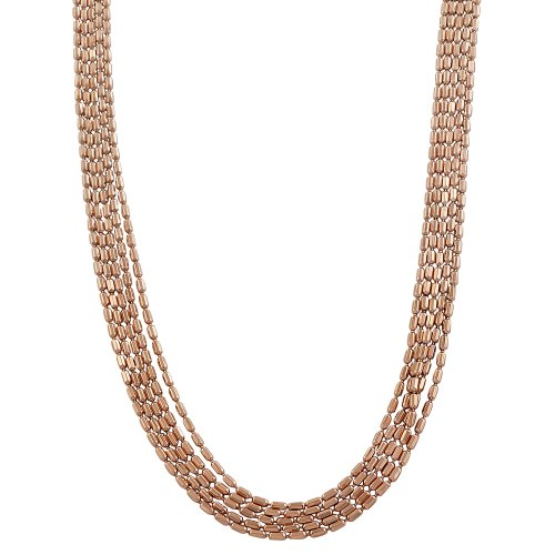 Kooljewelry 18k Rose Gold Over Silver 5-Strand Diamond-Cut Bar Link Necklace (18 inch)