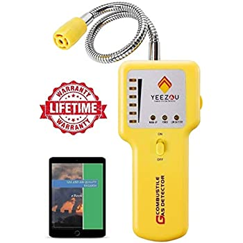 Y201 Propane and Natural Gas Leak Detector; Portable Gas Sniffer to Locate Gas Leaks of Combustible Gases like Methane, LPG, LNG, Fuel, Sewer Gas; ...
