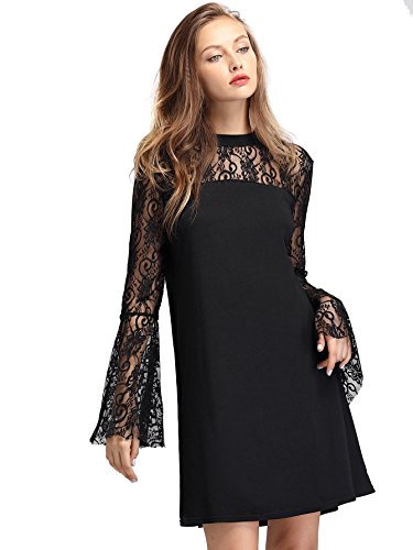 SheIn Women's Casual Sexy Round Neck Sheer Lace Yoke Shift Dress X-Large Black# Round Yoke Dress