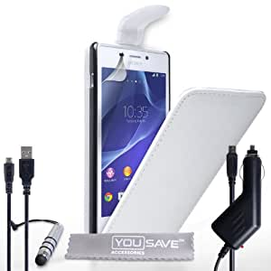 Yousave Accessories Sony Xperia M2 funda tipo libro de piel sintética con tapa con Mini lápiz capacitivo, cargador de coche y Cable Micro USB