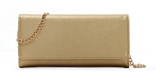 Bi Fold Clutch - Women's Faux Saffiano Bifold Cross Body Clutch Wallet (Gold)