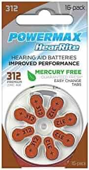 Powermax 312 Hearing Aid Battery, P312 HearRite Brown Tab Hearing Aid Batteries, Mercury Free, 64 Count