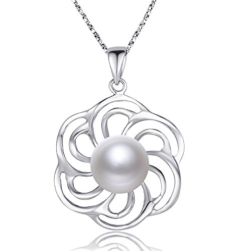 (NONNYL 925 Sterling Silver Good Luck Polished Celtic Knot Cross Freshwater Cultured Pearl Pendant Necklace)