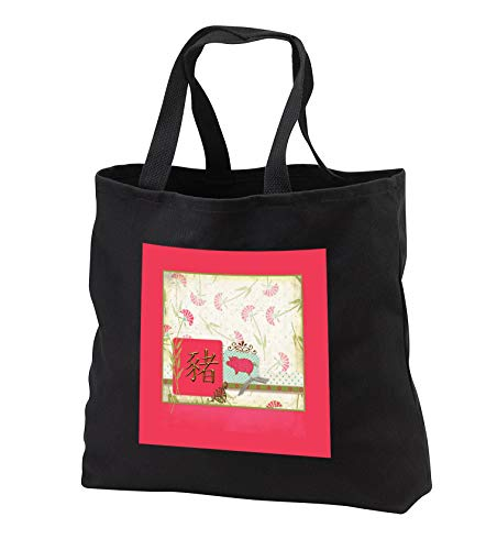 Beverly Turner Chinese New Year Design - Sign of the Pig, Fan Flower, Pink Pig on Dots, Bow, Gold Design Accent - Tote Bags - Black Tote Bag JUMBO 20w x 15h x 5d (tb_287001_3)