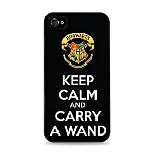 KOKOJIA ? Black White Harry Potter Hogwarts Keep Calm and Carry A Wand -black Hard Cover Case for iPhone 5 5s case