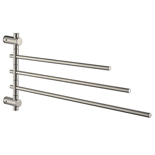 Rail Swing Towel (Swing Out Towel Rack With 3 Arms, Angle Simple SUS304 Stainless Steel Swiveling Hand Towels Holder Bar Bath Towels Rail Rotating Bar Wash Cloths Hanger Wall Mount, Brushed Nickel)