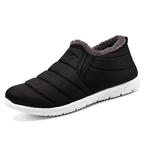 XFentech Botas de Nieve de algodón para Hombre - Calzado cómodo y Suave para Caminar en Invierno, Negro, CN44 (Pies de...