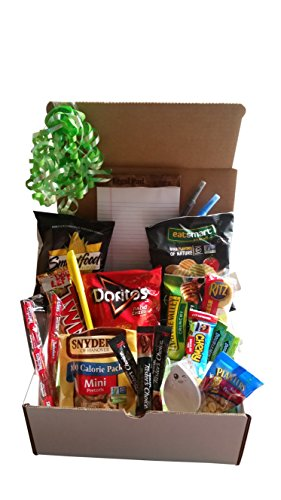 Student Care Package- Assortment of Snacks, Nuts, Granola Bars, Candy, Coffee Packets, Notepad, Pens, Highlighter, and Funky Sticky Notes Gift Box