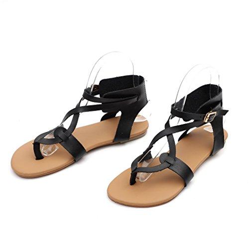 Evedaily Roman Sandals Womens Walking Cross Heel Sandals Shoes Summer Beach Buckle Strap Flat Black rArnZ6wcq