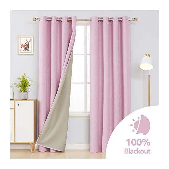 Deconovo Faux Linen 100 Blackout Curtains Grommet Thermal Insulated Noise Reducing Room Darkening Draperies for Children' Room 52x84 Inch Set of 2 Panels Pink - Deconovo faux linen blackout curtains are made of 100 percent high quality polyester. Imported, Constructed with 3 layers, our heavy blackout curtains have a faux linen look, are smooth and pleasant to touch. These total blackout curtain can completely block the light from getting you're your room. Once closed, these curtain panels will protect your privacy as they are not see-through and are also noise reducing. Our thermal insulated curtains are energy efficient, fashioned to help in reducing the amount of heat that gets into your room in summer and or goes out of the room through the windows in winter. - living-room-soft-furnishings, living-room, draperies-curtains-shades - 41SbFsMEhgL. SS570  -