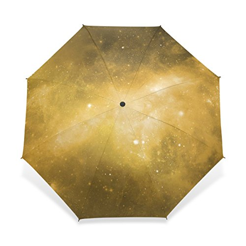 JSTEL Compact Windproof and Portable Durability Travel Foldable Rain Umbrella for Easy Carrying Sky Nebula Star Galaxy Pattern (E27) (Compact E27)