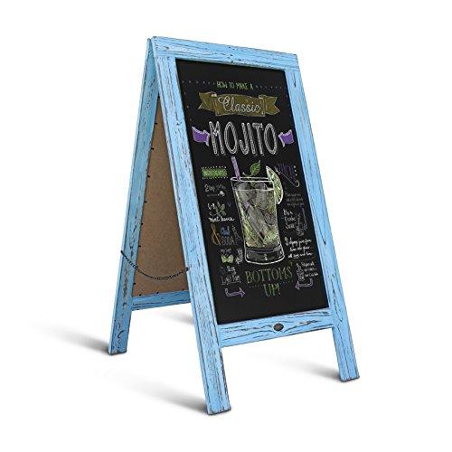 Rustic Robin Blue A-Frame Chalkboard/Sidewalk Chalkboard Sign/Large Sturdy Sandwich Board/A Frame Restaurant Message Board/Freestanding Wooden Menu Display Sign by HBCY Creations