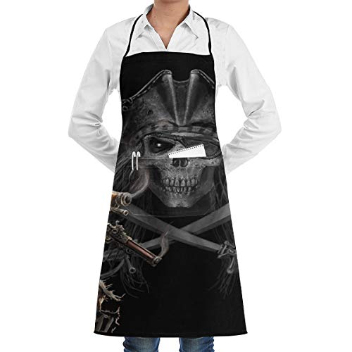 Lao Yang Mai Halloween Pirate Skeleton Skull Gun BBQ Waiter Housekeeper Pet Grooming Bartender Kitchen Beautician Hairstylist Nail Salon Carpenter Shoeing Wood Painting Artist Pocket Apron -