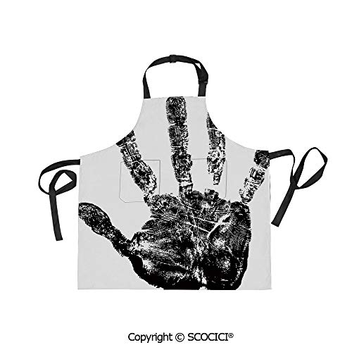SCOCICI Adjustable Bib Apron Waterdrop Resistant Cooking Kitchen Aprons,Hand Print with Human Fingers in Grunge Motley Stylized Identity Stamp Touch Display,for Women Men Chef Baking Gardening -