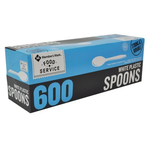 Bakers and Chefs White Plastic Spoons, 600 Count by Bakers & Chefs