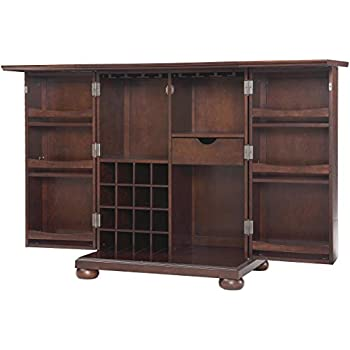 Crosley Furniture Alexandria Expandable Top Bar Cabinet   Vintage Mahogany