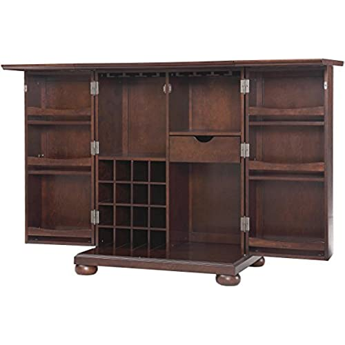 Crosley Furniture Alexandria Expandable Top Bar Cabinet   Vintage Mahogany