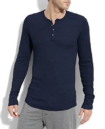 Bottoms Out Mens Solid Thermal Henley Long Sleeve T-shirts - Navy ...