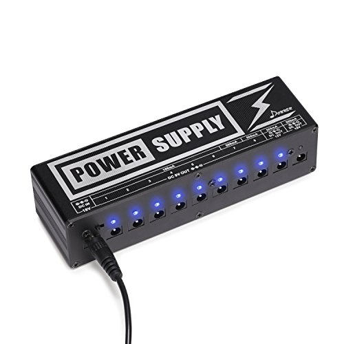 Donner DP-2 Guitar Pedal Power Supply High Current 10 Isolated DC Output for 9V/12V/18V Effect Pedals Isolated Power Supply