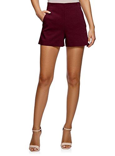 De En Mujer Trapecio Lateral Ultra 4901n Forma Rojo El Cremallera Cortos Pantalones Con Oodji 5I4zwpqx4