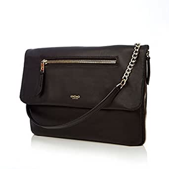 """Knomo Mayfair Luxe Elektronista, 10"""" Digital Clutch/Shoulder Bag, with Device Protection, RFID Pocket and KNOMO ID, Black"""