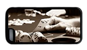 Hipster iPhone 5C case custom poker two aces TPU Black for Apple iPhone 5C