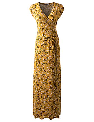 CLOVERY Women's Cap Sleeve Faux Wrap Maxi Dress MUSTARDFLORAL M