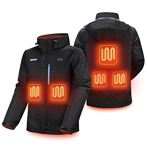 Mens 7.4V Heated Jacket 5 Heating Zones Heating suit Winter Windproof, heated vests Heating jacket