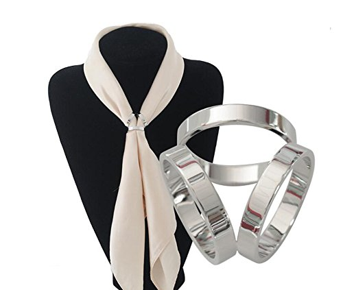 - 1PCS Fashion Oval Three Layers Scarves Buckle Ring Silk Sarf Clasp Clips Clothing Ring Wrap Holder for Neckerchief (Silver)