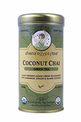 Chai White Tea - Zhena's Organic Gypsy Tea, Coconut Chai Green Tea, 22 Sachets