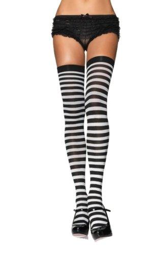 Nylon Striped Stockings Hosiery Size