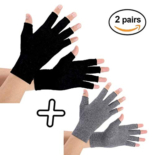 Arthritis Gloves 2 Pairs, Compression Gloves Support and Warmth for Hands, Finger Joint, Relieve Pain from Rheumatoid, Osteoarthritis, RSI, Carpal Tunnel, Tendonitis, Women (Medium, Pureblack+Gray)