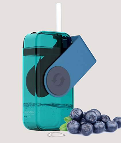 asobu Juicy Drink Box The Ultimate Unbreakable Reusable 10 Ounce Water Bottle for Kids (Blue)
