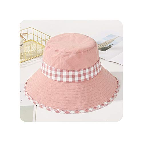 Women Hats Patchwork Cotton Sun Hats Female Fashion Flat Top Plaid Bucket Hats,Pink -
