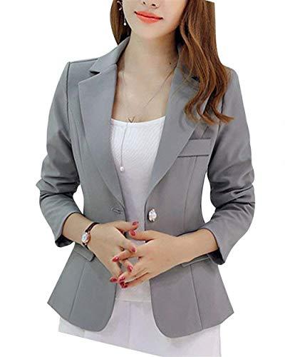 Manica Da Eleganti Bavero Button Moda Primaverile Alla Business Lunga Cappotto Giacche Donna Giovane Puro Slim Con Tailleur Fit Colore Giacca Grau Grazioso Blazer Autunno Ufficio Tasche T5fUq