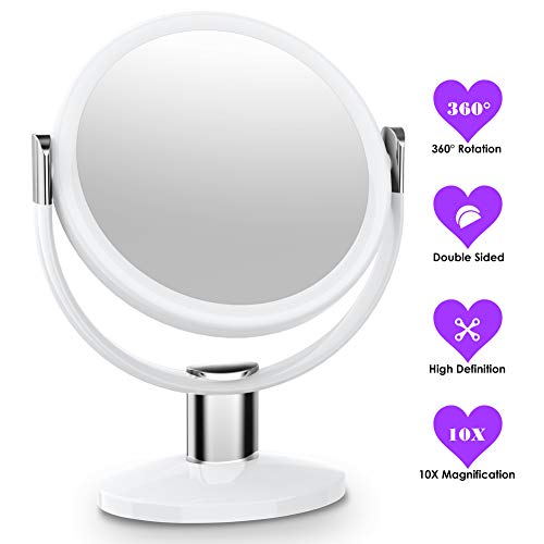 10x Makeup Mirror (MTORED 10x Magnifying Makeup Mirror, Double Sided Makeup Vanity Mirror 360 Degree Swivel Rotation for Home Tabletop Bathroom Travel)