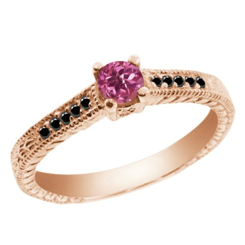 pink and black diamond ring - 8