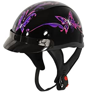 Outlaw T70 Purple Butterfly Glossy Motorcycle Half Helmet - Small