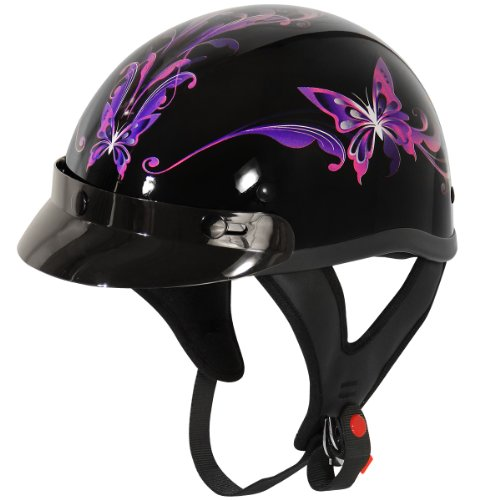 Outlaw Half Helmet - Outlaw T70 Purple Butterfly Glossy Motorcycle Half Helmet - X-Small