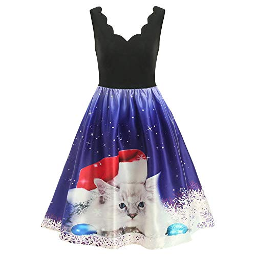 AKwell Christmas Women Dress Sleeveless V-Neck Cats Print Vintage Evening Party Dress Flare Dress A-Line Swing Dress (Dress Birthday Bishop)