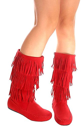 OLIVIA K Women's Three and Five Layer Fringe Moccasin Knee High Boots Tan (Red Flat Boots)
