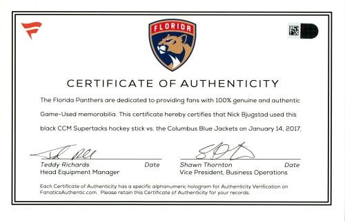 Nick Bjugstad Florida Panthers Game Used Black CCM Supertacks Hockey Stick vs. Columbus Blue Jackets on January 14, 2017 Fanatics Authentic Certified