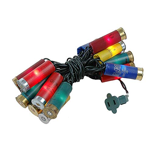 Novelty Lights 20 Light Shotgun Shell Mini Light Set, Multi Color, Green Wire, 8.5 Feet ()