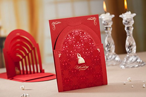 Original Wedding Invitations - 20 Wedding Invitations with Envelopes Kits Wishmade Invites Laser Cut Cards Red Luxurious Vintage 3D Pop UP Palace Cardstock for Marriage Bridal Shower Wedding Favors CW3083