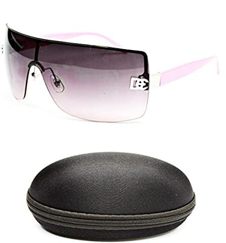 D1008-CC Designer Eyewear Shield Rimless Sunglasses (12 Silver/Pink, smoked)