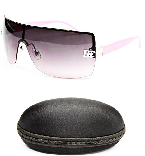 D1008-CC Designer Eyewear Shield Rimless Sunglasses (12 Silver/Pink, - Sunglasses Womens Rimless Shield