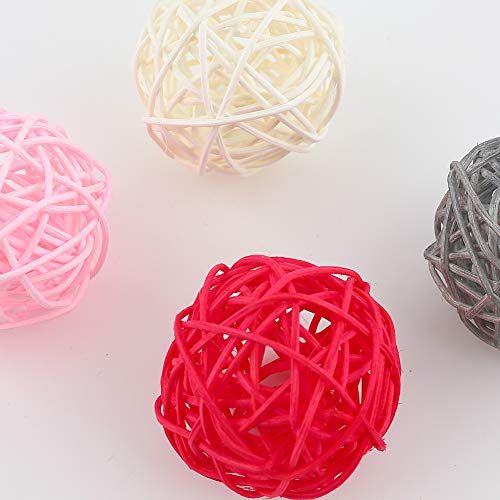 DomeStar Rattan Ball, 24PCS 2 Inch Wicker Ball Decorative Ball Orbs Vase Bowl Fillers